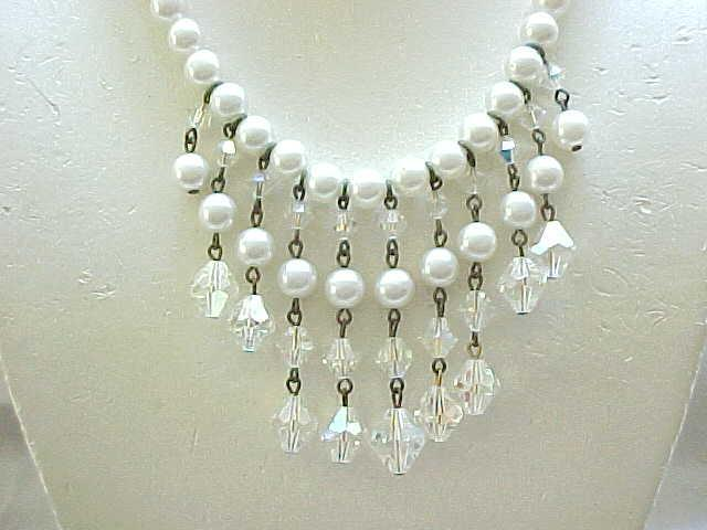 10 - Pretty Bib Necklace with Faux Pearls & Crystals