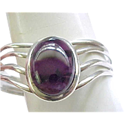 Gorgeous Sterling Bracelet with Large Amethyst Center