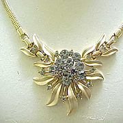 Exquisite Trifari Necklace, Bracelet - Black Diamond Rhinestones, Goldtone