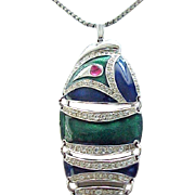 D'Orlan Enamel & Rhinestone Fish Necklace - Just Wonderful!