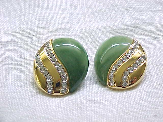12 - KJL Earrings Pave' Set Rhinestones