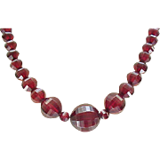 Exquisite Cherry Amber Necklace - Unusually Faceted Beads
