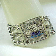 Outstanding Sterling Filigree Bracelet with Enamel Plaques