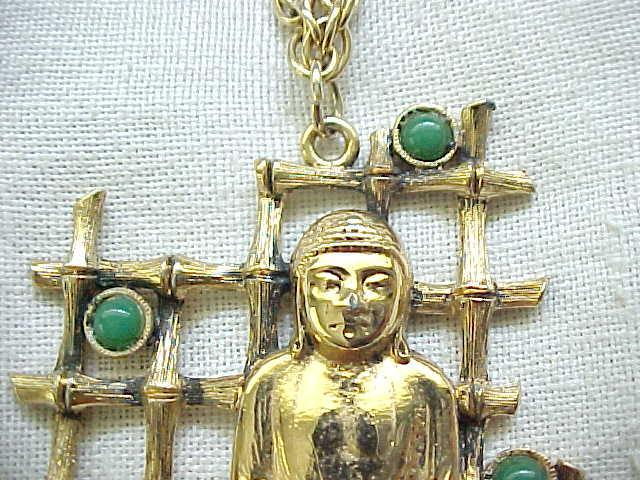 Buddha Necklace with Faux Bamboo, Faux Jade