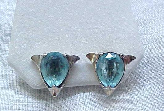Sterling Silver Earrings with Simulated Aquamarines