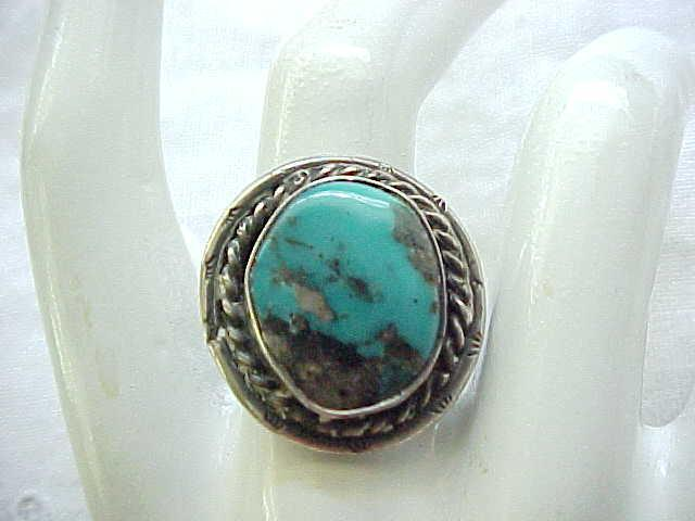 Turquoise and Sterling Ring - Native American - Size 7