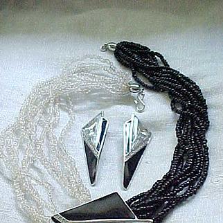 Elegant Kunio Matsumoto Necklace, Earrings - Dramatic Centerpiece