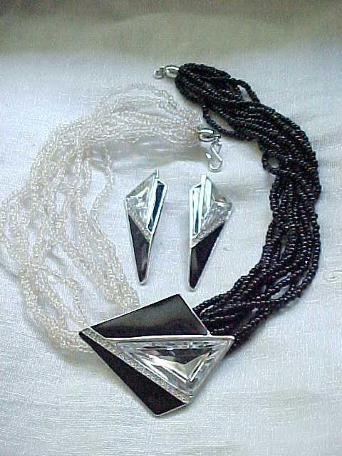Elegant Kunio Matsumoto Necklace, Earrings - Dramatic Centerpiece
