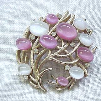 Glorious Pin and Earrings - Trifari Under the Sea Faux Moonstone
