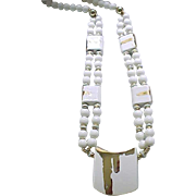 Impressive White Necklace with Gold Color Accents