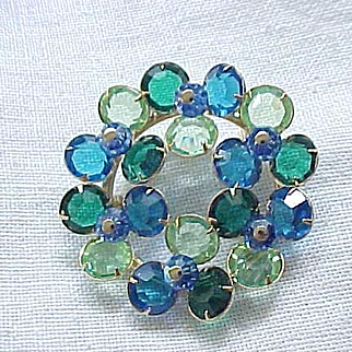10 - Crystal Pin and Dangle Earrings - Lime Green, Royal Blue