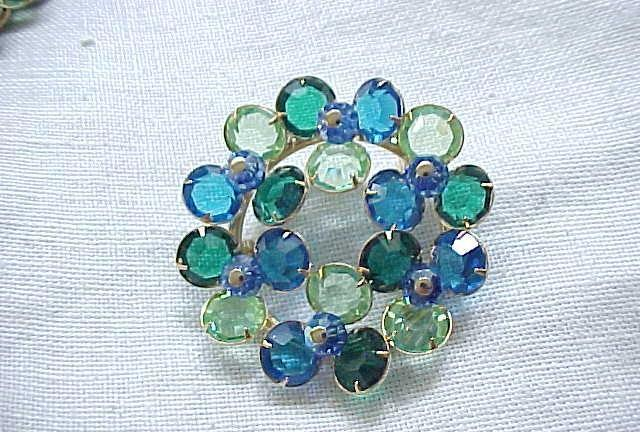 01 - Crystal Pin and Dangle Earrings - Lime Green, Royal Blue
