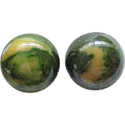 Big Bakelite Earrings - Cream Spinach - Green with Butterscotch