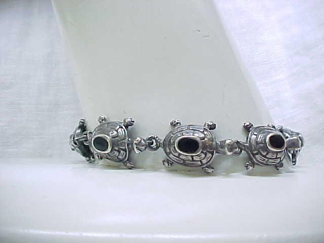Sterling Silver Turtle Bracelet, Onyx Inserts - So Cute!