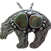Incredible Bear Fetish - Sterling & Turquoise - Pendant/Brooch - Native American