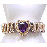 Sweetheart Expansion Bracelet - Purple Heart Center -DFB Co.