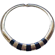Fab Flex Collar Necklace, Bracelet and Earrings - Monet - Black Enamel