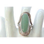Gorgeous Sterling Ring with Green Aventurine Stone,  Signed