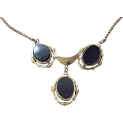 09 - Lovely Gold Filled Necklace with Black Oval Stones