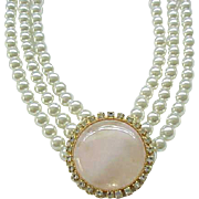 11 - 3 Strand Faux Pearl Necklace with Rose Quartz Center and Matching Earrings