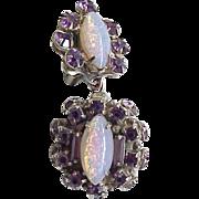 12 - Fab Earrings Jelly Opals, Purple Rhinestones -Joseph Weisner