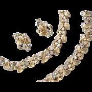 Charel Rhinestone Parure - Necklace, Bracelet, Clip Earrings