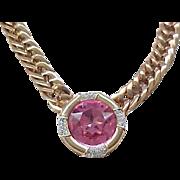 Gorgeous Necklace - Pink Center with Diamante Rhinestones