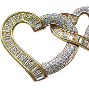 Stunning Swarovski Double Heart Rhinestone Pin