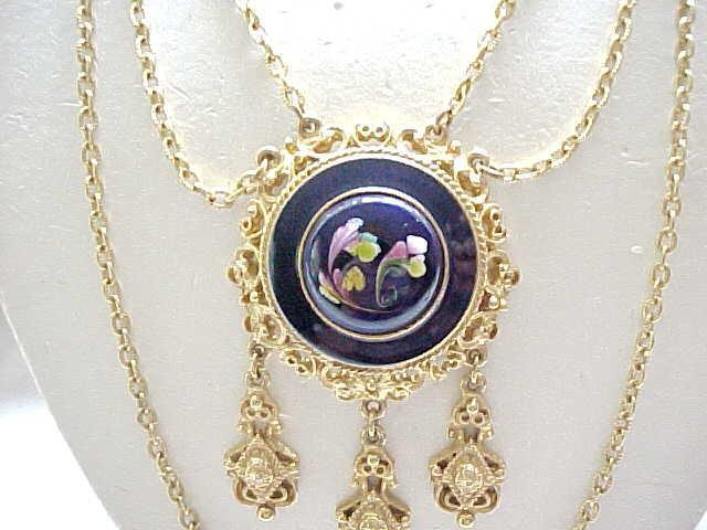 Florenza Enameled Multi Chain Necklace - Victorian Style