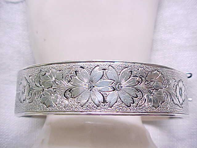 Outstanding Sterling Hinged Cuff Bracelet - Floral Design - 1940's'50's