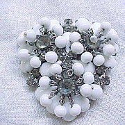 Juliana Brooch White Glass Cabs & Beads, Black Diamond Rhinestones