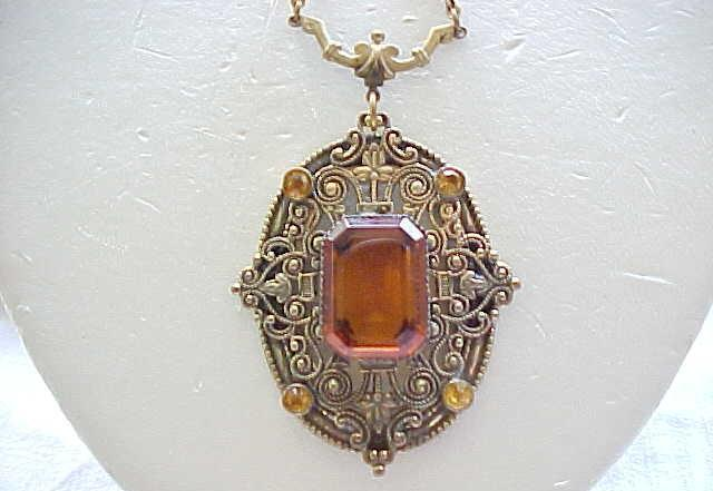 Beautiful Czech Necklace with Filigree and Amber Rhinestones