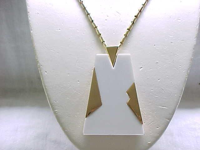 Stylish Trifari White Lucite Necklace with Goldtone Accents