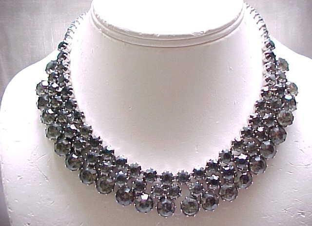 Elegant Ledo Black Diamond Necklace & Ear Clips