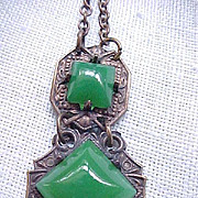Art Deco Czech Necklace - Green Stones