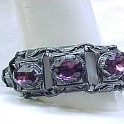 Extravagant Napier Rhinestone Bracelet - Huge Purple Rhinestones - Runway Piece