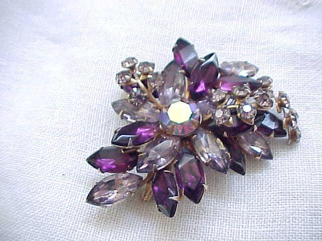 Spectacular Beaujewels Purple Rhinestone Pin & Earrings