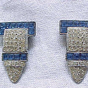 01 - Pair Art Deco Dress Clips - Square Sapphire Blue Rhinestones