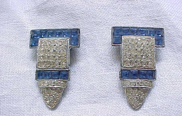 01 - Pair Art Deco Dress Clips - Square Sapphire Blue Rhinestones