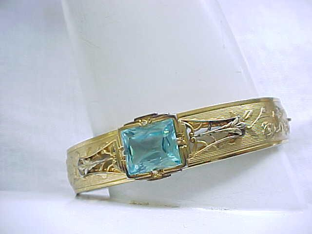 1930/'40's Bracelet with Aqua Stone - Like New