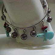 Navajo Sterling Bead Bracelet, Turquoise Bears