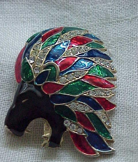 11 - Handsome Enameled Lion Pin with Pave' Set Rhinestones