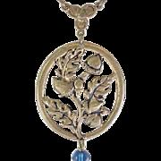 Spectacular Czech Necklace - Acorns, Royal Blue Glass Beads