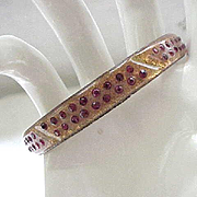 12 - Art Deco Celluloid Bracelet Gold Dust and Red Rhinestones