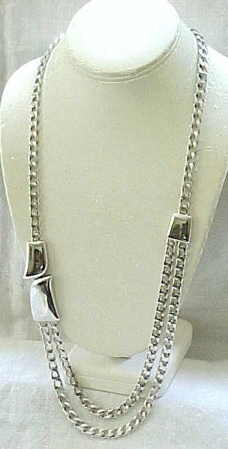 Stylish Long Chunky Silvertone Necklace - Trifari