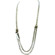 Stylish Long Chunky Silvertone Necklace - Trifari
