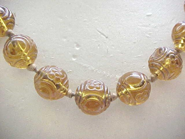 Beautiful Czech Necklace with Molded Glass Beads