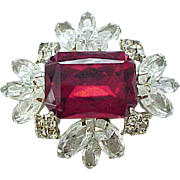 Gorgeous Rhinestone Pin - Red Center, Diamante Rhinestone Frame