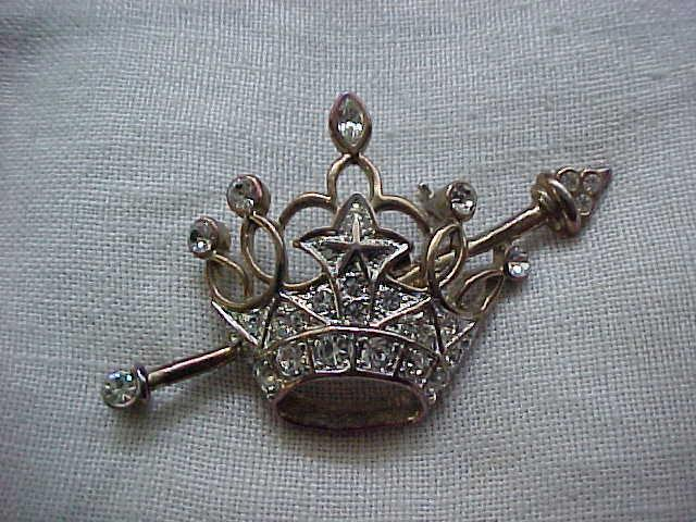 12 - Rhinestone Crown and Scepter Pin