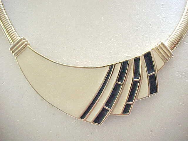 Trifari Cream and Black Enamel Necklace, Earrings